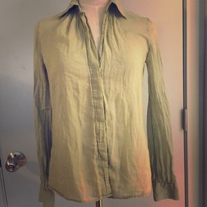 Theory olive green button down shirt